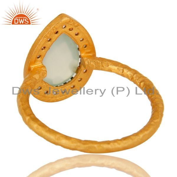 Suppliers 18K Yellow Gold Plated Sterling Silver Aqua Chalcedony And CZ Stacking Ring