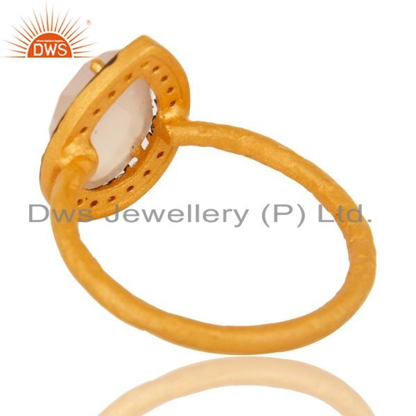 Suppliers 18K Gold Plated Sterling Silver Rose Chalcedony Gemstone Stack Ring With CZ