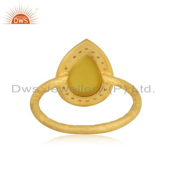 Suppliers Yellow Chalcedony Gemstone 925 Silver Gold Plated Ring Manufacturer India