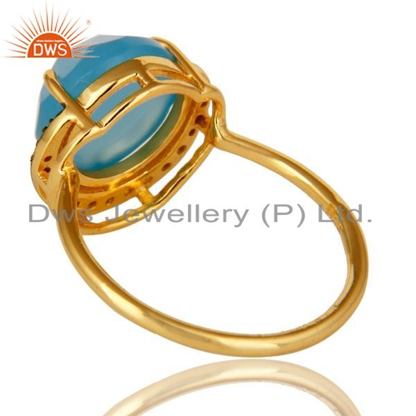 Suppliers 18K Yellow Gold Plated Sterling Silver Aqua Blue Chalcedony Gemstone Ring