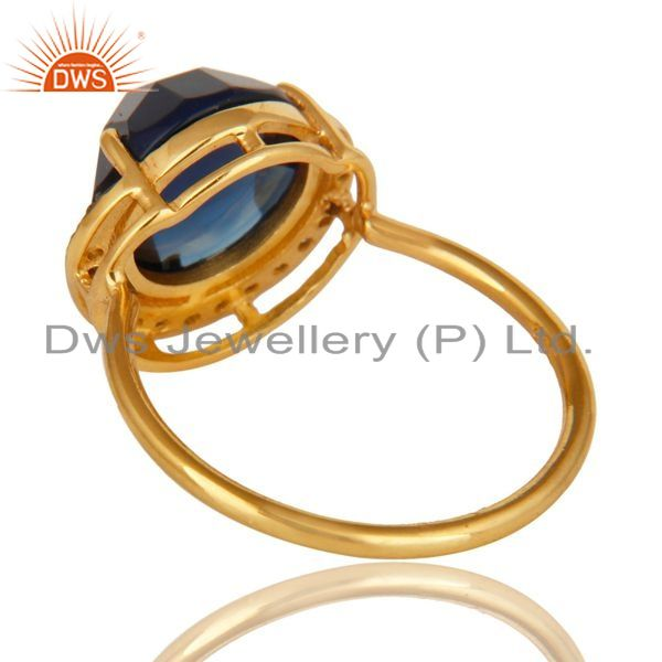 Suppliers 18K Yellow Gold Plated Sterling Silver Blue Corundum And CZ Stacking Ring
