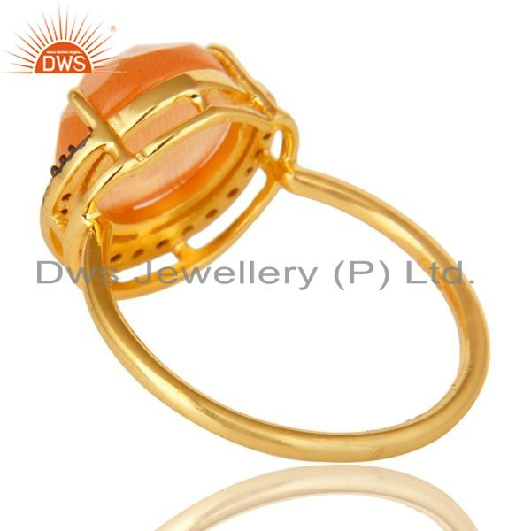 Suppliers 18K Yellow Gold Plated Sterling Silver Peach Chalcedony Stack Ring With CZ