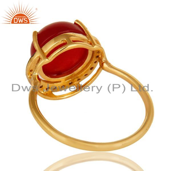 Suppliers Natural Red Aventurine 18K Gold Plated Sterling Silver Stacking Ring With CZ