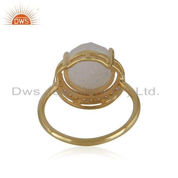 Suppliers CZ Rainbow Moonstone Gemstone Gold Plated Silver Half Moon Rings