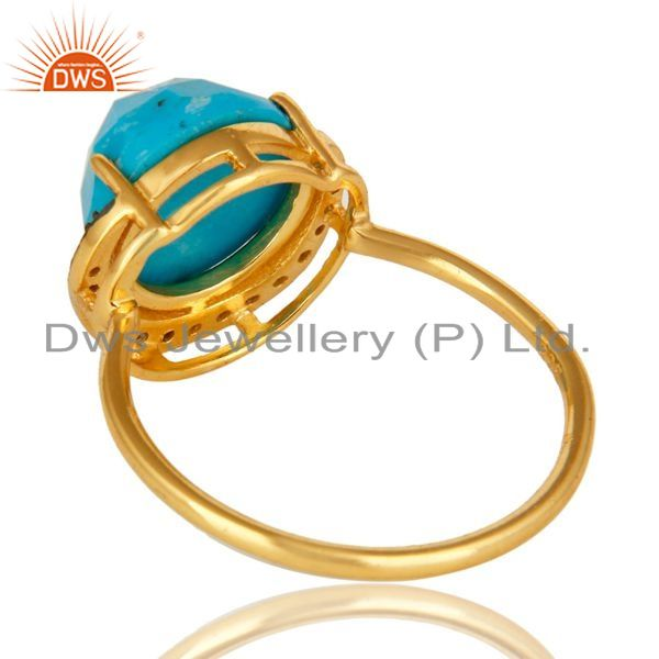 Suppliers 14K Yellow Gold Plated Sterling Silver CZ And Turquoise Designer Stacking Ring