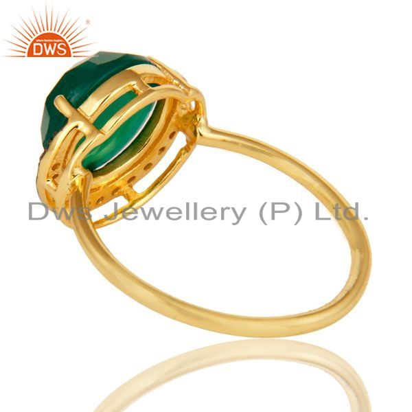 Suppliers Green Aventurine 14K Gold Plated Sterling Silver Half Moon Stackable Ring With C