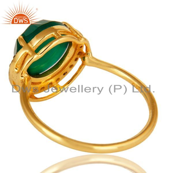 Suppliers 18K Gold Plated Sterling Silver Faceted Green Onyx And CZ Stack Ring