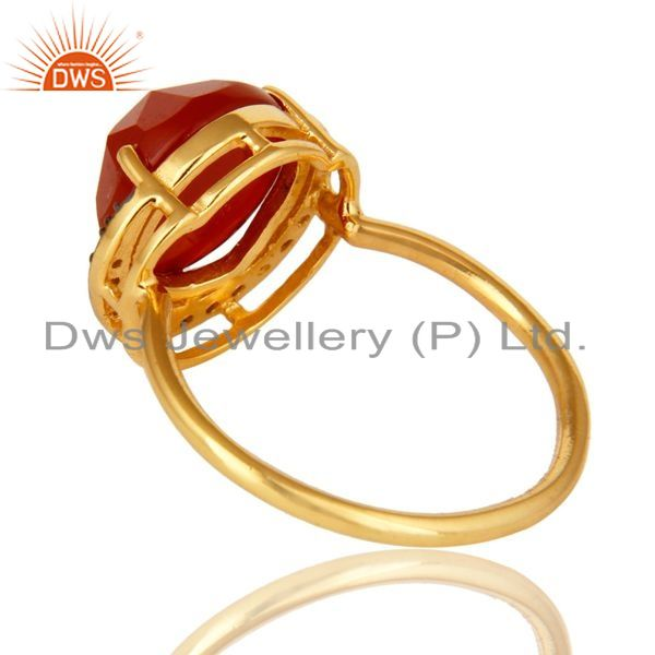 Suppliers Shiny 14K Yellow Gold Plated Sterling Silver Red Onyx Stack Ring With CZ