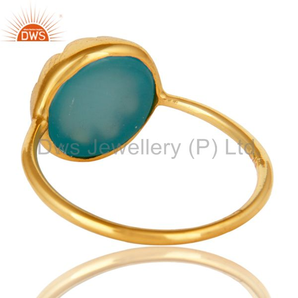 Suppliers Aqua Chalcedony Gemstone Sterling Silver Stacking Ring With Gold plated