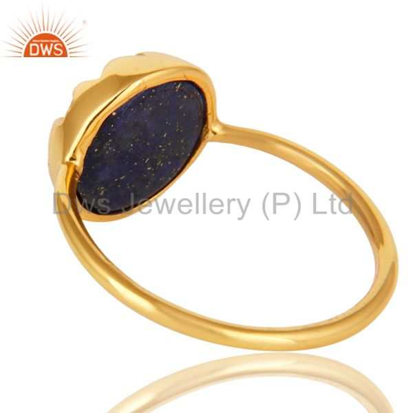 Suppliers Natural Lapis Lazuli Gemstone Sterling Silver Stacking Ring With Gold Plated