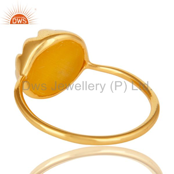 Suppliers 14K Gold Plated Sterling Silver Yellow Moonstone Round Stacking Ring