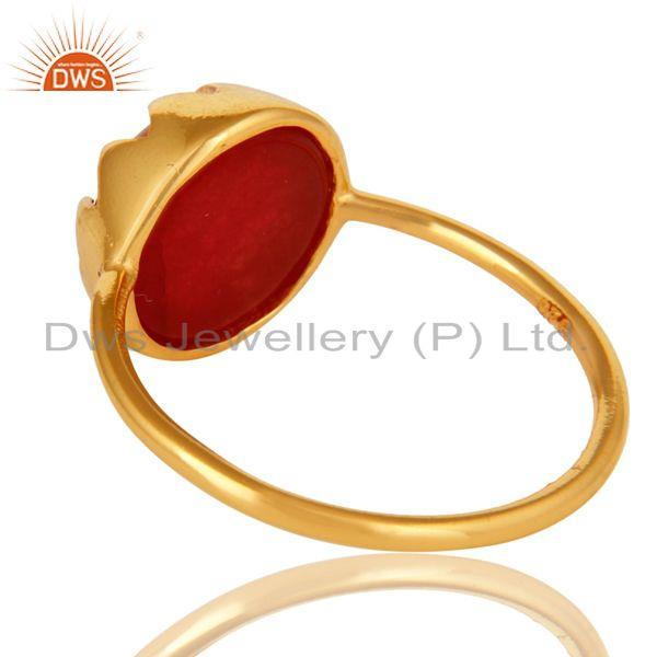 Suppliers Handmade Red Aventurine Gemstone Ring Made In 18K Gold Over Sterling Silver