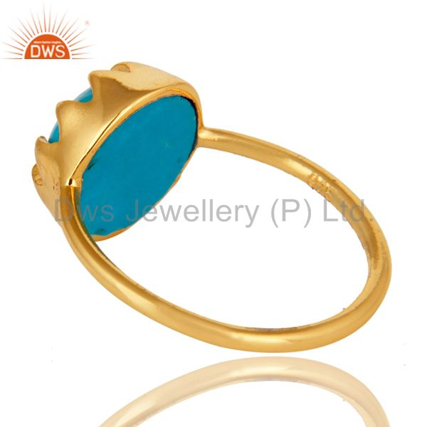 Suppliers Handmade Turquoise Gemstone Ring Made In 18K Gold Over Sterling Silver