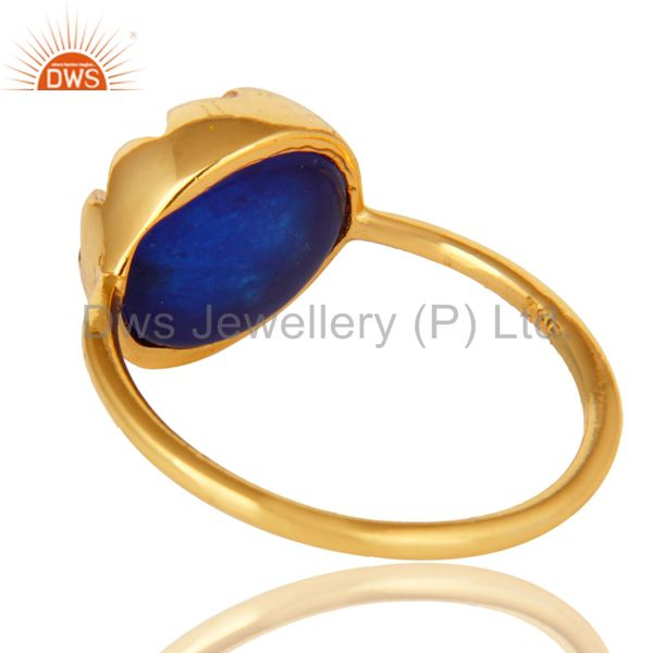 Suppliers 14K Yellow Gold Plated Blue Aventurine Gemstone Sterling Silver Stack Ring
