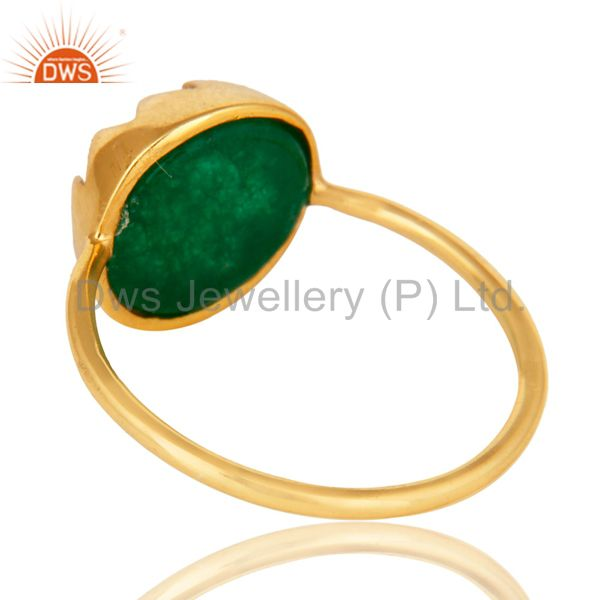 Suppliers 14K Yellow Gold Plated Sterling Silver Green Aventurine Gemstone Stackable Ring