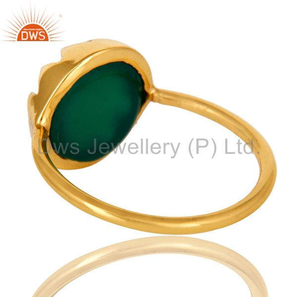 Suppliers 14K Yellow Gold Plated Sterling Silver Green Onyx Designer Stackable Ring