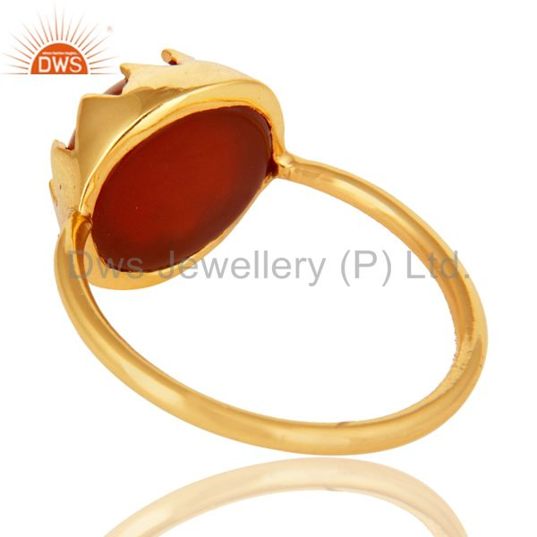 Suppliers Handmade Red Onyx Gemstone Sterling Silver Stack Ring With Gold Plated