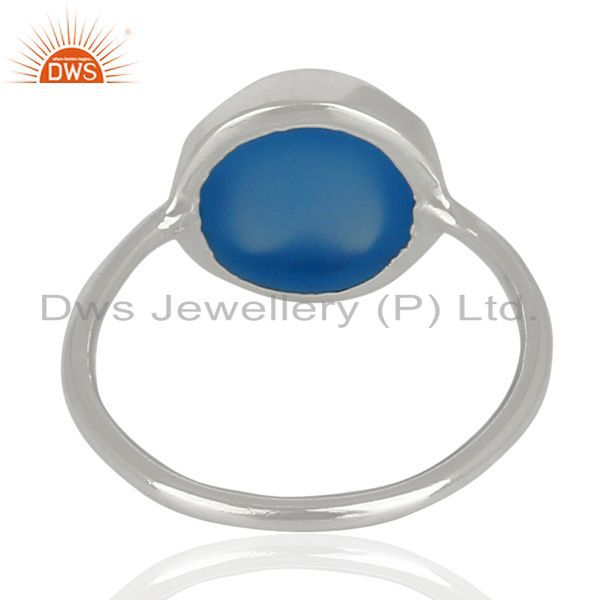 Suppliers Blue Chalcedony Stackable 925 Sterling Silver Ring Gemstone Jewelry