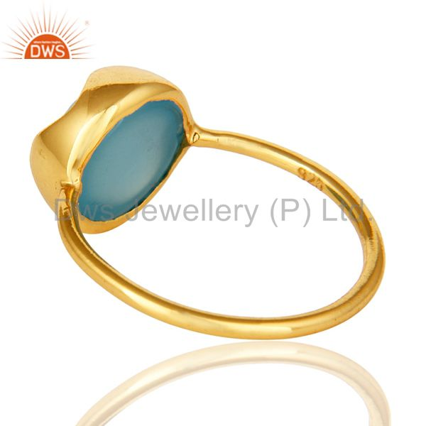 Suppliers 14K Yellow Gold Plated Sterling Silver Aqua Blue Chalcedony Stack Ring