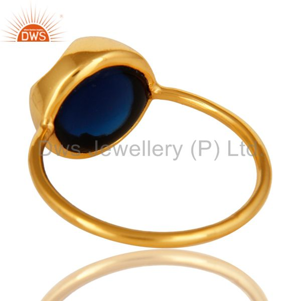 Suppliers 14K Yellow Gold Plated Sterling Silver Blue Corundum Gemstone Stacking Ring