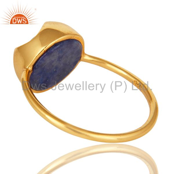 Suppliers 18K Yellow Gold Plated Sterling Silver Natural Lapis Lazuli Stacking Ring