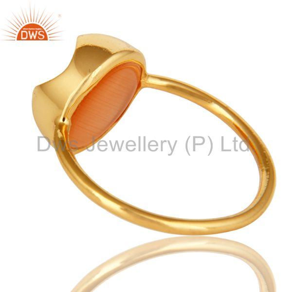 Suppliers 14K Yellow Gold Plated Sterling Silver Peach Moonstone Stack Ring