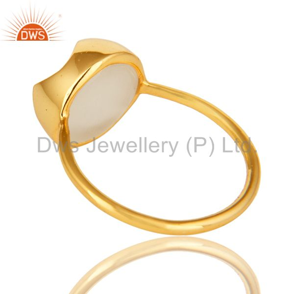 Suppliers 14K Yellow Gold Plated Sterling Silver White Moonstone Designer Stackable Ring