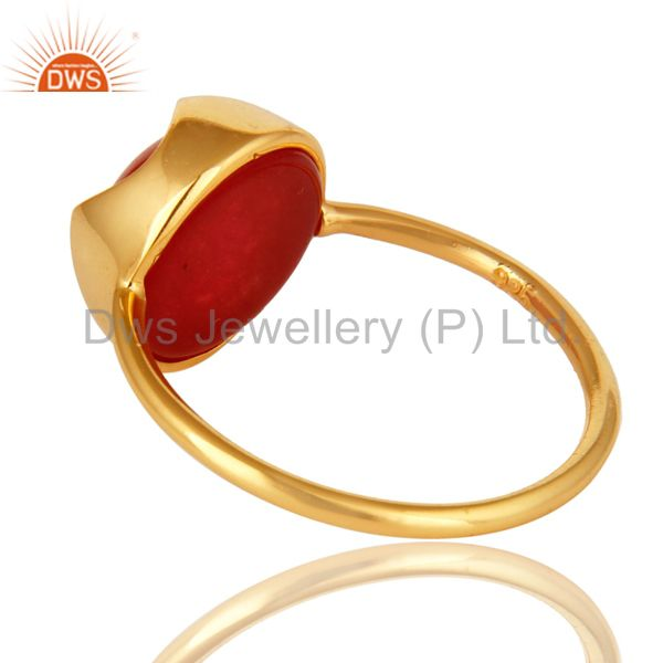 Suppliers Natural Red Aventurine Gemstone Sterling Silver Ring With Yellow Gold Plated
