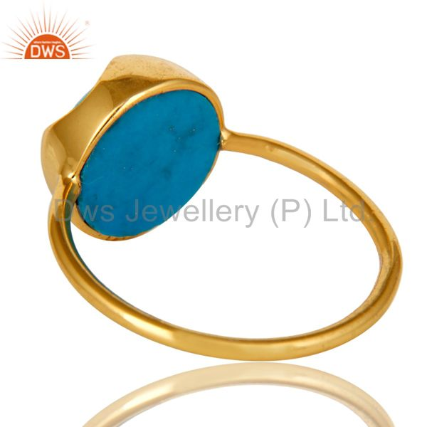 Suppliers 18K Yellow Gold Plated Sterling Silver Turquoise Gemstone Stackable Ring