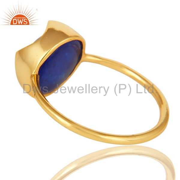 Suppliers 14K Yellow Gold Plated Sterling Silver Blue Aventurine Stackable Ring