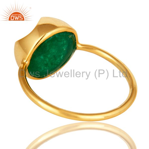 Suppliers Green Aventurine Gemstone Sterling Silver Stackable Ring With Yellow Gold Plated