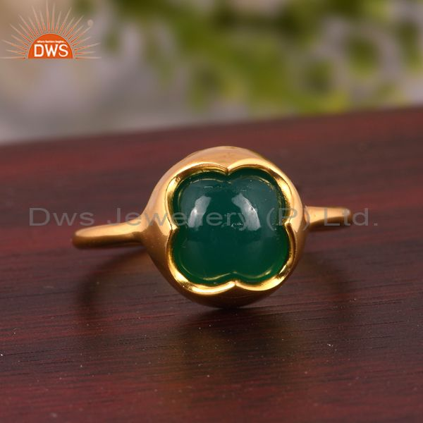 Suppliers Natural Green Onyx Gemstone Sterling Silver Stackable Ring With Gold Plated