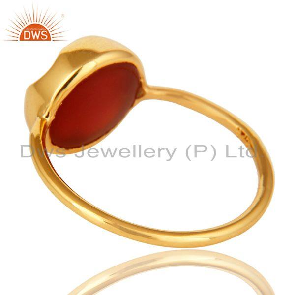 Suppliers 14K Yellow Gold Plated Sterling Silver Red Onyx Designer Stackable Ring