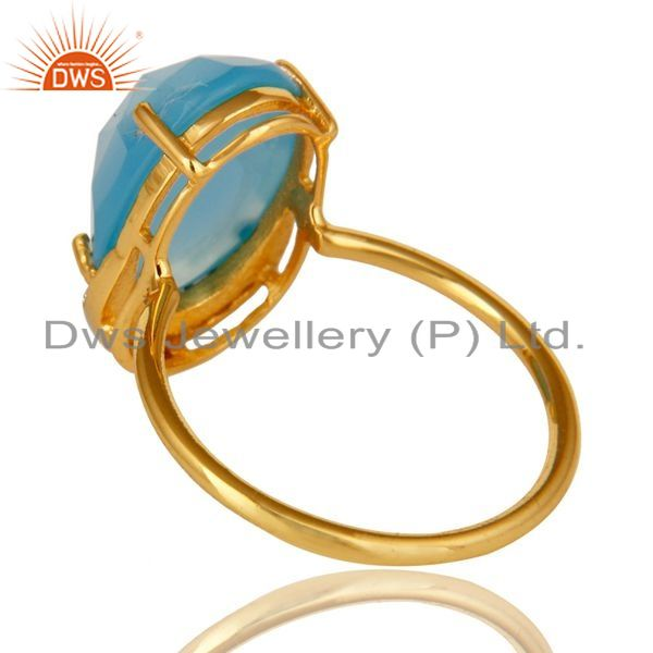 Suppliers 18K Gold Plated Sterling Silver Dyed Blue Chalcedony Prong Set Stacking Ring