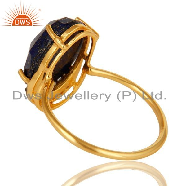 Suppliers Natural Lapis Lazuli Gemstone Sterling Silver Ring With Yellow Gold Plated