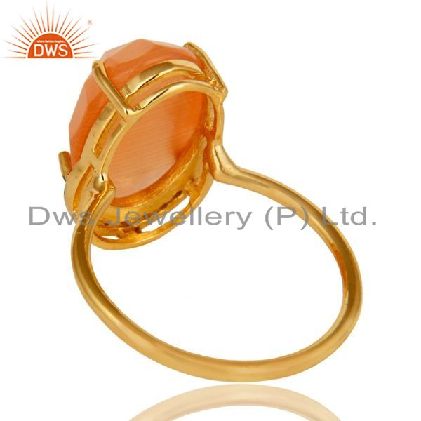 Suppliers 14k Gold Plated Sterling Silver Peach Moonstone Gemstone Stacking Ring