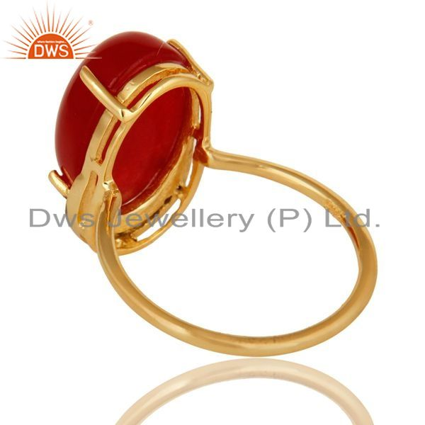 Suppliers 14K Yellow Gold Plated Sterling Silver Red Aventurine Prong Set Ring With CZ