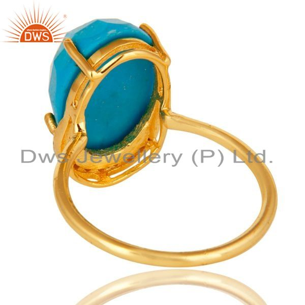 Suppliers Shiny 14K Yellow Gold Plated Sterling Silver Turquoise Prong Set Stacking Ring