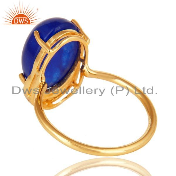 Suppliers Natural Blue Aventurine 18K Gold Plated Sterling Silver Stacking Ring With CZ
