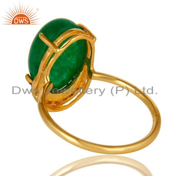 Suppliers 14K Gold Plated Sterling Silver Green Aventurine Party Wear Fashion Ring With CZ