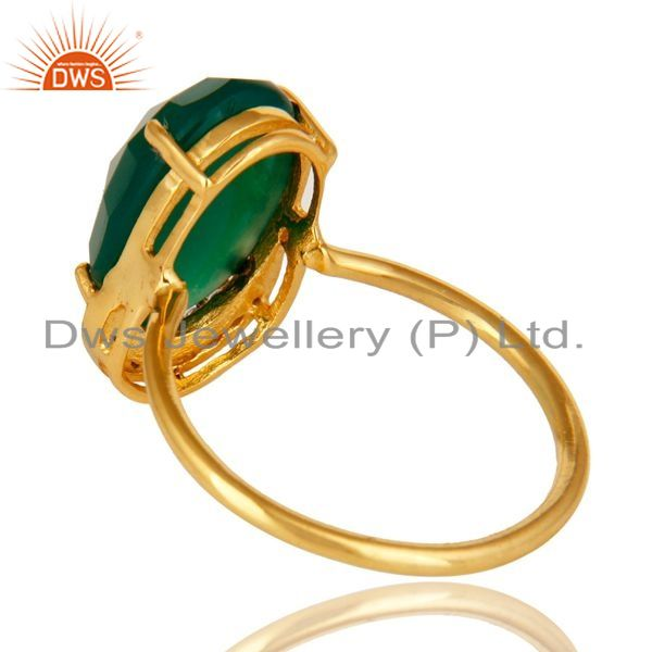 Suppliers 14K Yellow Gold Plated Sterling Silver Prong Set Green Oynx Ring With CZ