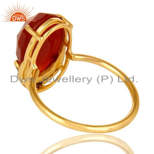 Suppliers 18K Yellow Gold Plated Sterling Silver Red Onyx Stackable Ring With CZ