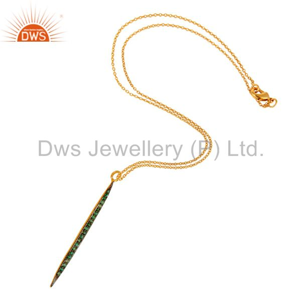 Suppliers 14K Yellow Gold Plated Handmade Round Cut Emerald Chain Brass Necklace Jewelry