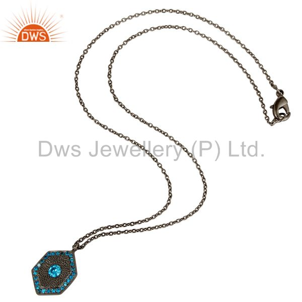Suppliers Fashion Look Design Brass Chain Pendant with Black Oxidized & Zircon Blue Topaz