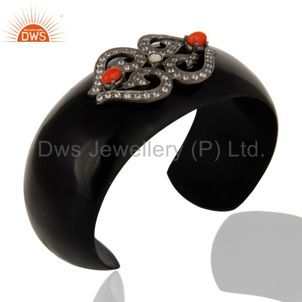 Suppliers Designer Red Coral Gemstone & White Zircon Black Bakelite Cuff Bangle Bracelet