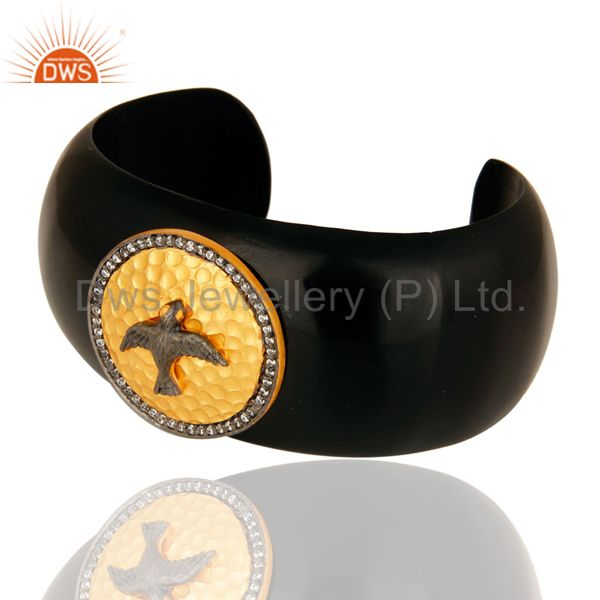 Suppliers Gold Plated Sterling Silver CZ-Studded Ladies Black Bakelite Cuff Bracelet