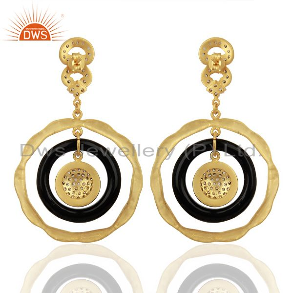 Suppliers 22K Yellow Gold Plated Sterling Silver Bakelite & Cubic Zirconia Dangle Earrings