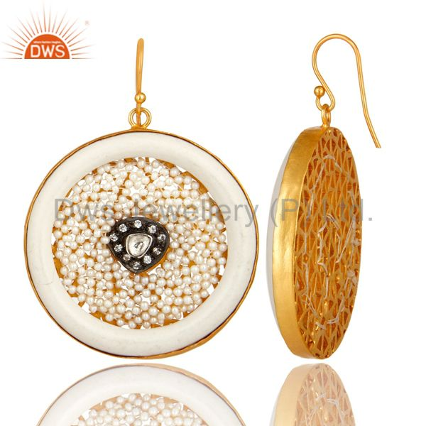 Suppliers 22K Gold Plated Sterling Silver Bakelite And Pearl Circle Dangle Earrings