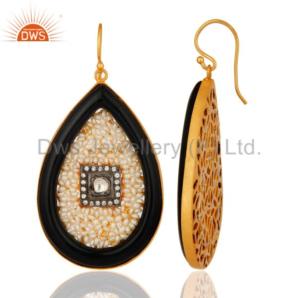 Suppliers 18K Yellow Gold Plated Sterling Silver Bakelite And Pearl Drop Earrings