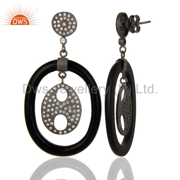 Suppliers Handmade 925 Sterling Silver White Zircon Bakelite Designer Dangle Earrings